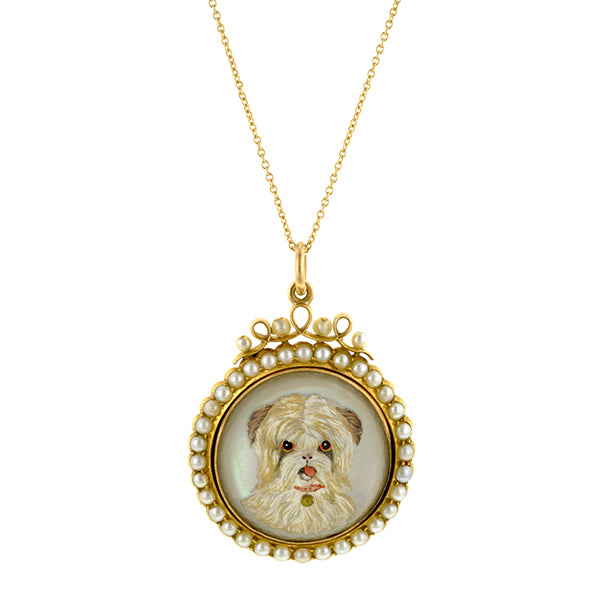Victorian Reverse Intagio Crystal Dog Pendant