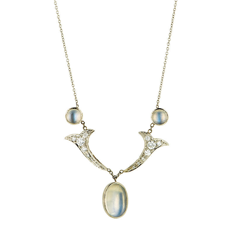 Diamond Set Moonstone Drop Necklace