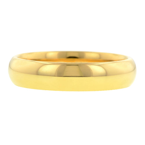 Contemporary ring: a Yellow Gold 18ky Comfort Fit Wedding Band Ring, 5mm sold by Doyle & Doyle vintage and antique jewelry boutique.