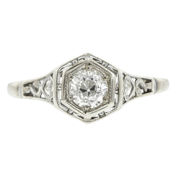 Art Deco Filigree Diamond Solitaire Engagement Ring, Old European, 0.42ct::  Doyle & Doyle