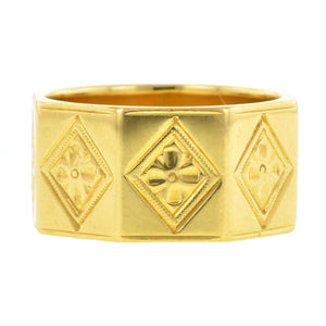 Victorian Patterned Gold Wedding Band::Doyle & Doyle