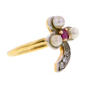 Vintage Pearl Ruby Diamond Clover Ring:: Doyle & Doyle