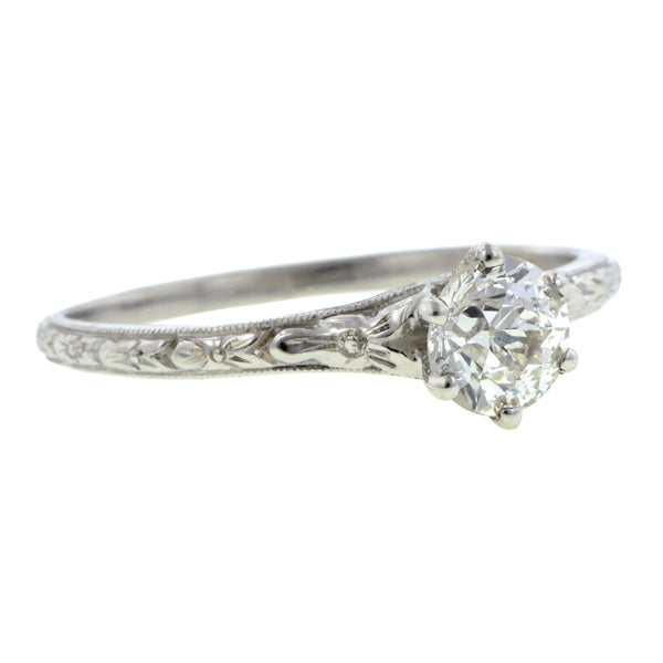 Vintage Solitaire Engagement Ring, Old Euro 0.50ct
