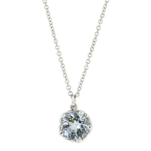 Aquamarine gemstone pendant 18k white gold - fancy basket style by Heirloom by Doyle & Doyle 093145n