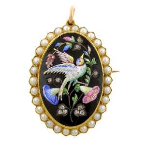 Victorian Enamel Diamond Bird Pin/Pendant