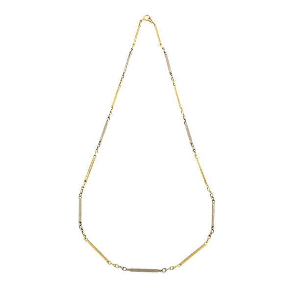 Art Deco Two-Toned Bar Link Chain Necklace