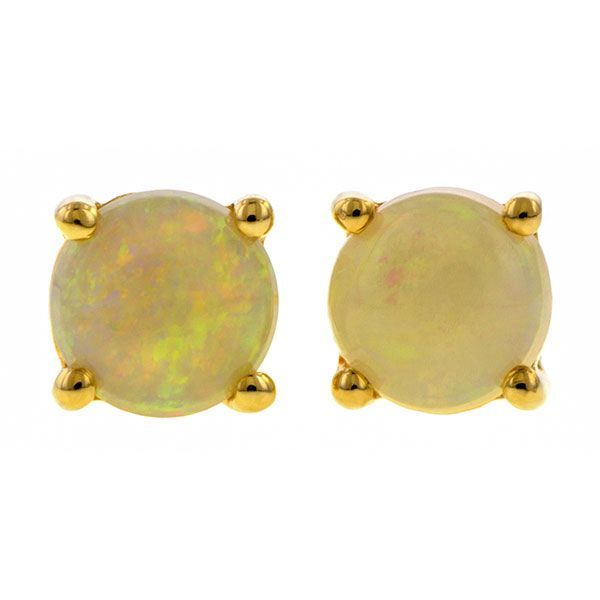 Round Cabochon Opal Stud Earrings sold by Doyle & Doyle vintage and antique boutique.