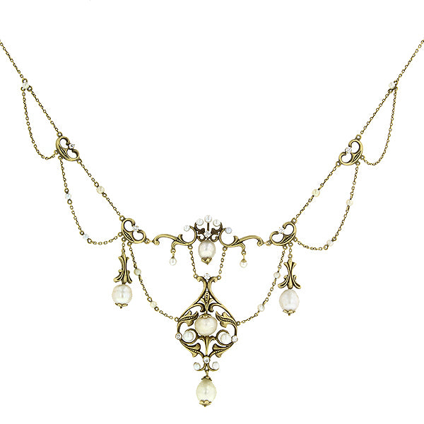 Antique Natural Pearl & Diamond Festoon Necklace sold by Doyle & Doyle vintage and antique jewelry boutique.