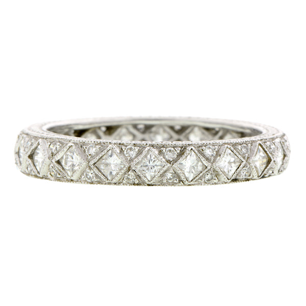 French Cut & Round Diamond Eternity Wedding Band Ring