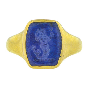 Antique Mermaid Intaglio Lapis Ring