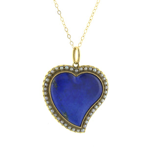 Antique Lapis & Pearl Heart Pendant