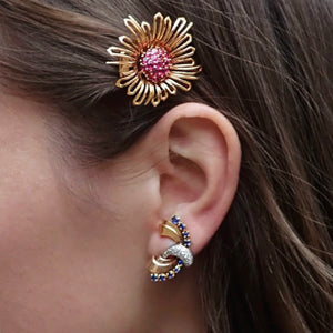 Vintage Ruby Cluster Flower Clip Brooch & Retro Sapphire & Diamond Scroll Earrings
