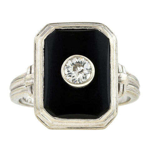 Vintage Diamond & Onyx Ring, Old Euro 0.25ct:: Doyle & Doyle