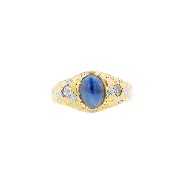 Cabochon Sapphire & Old European Diamond Ring
