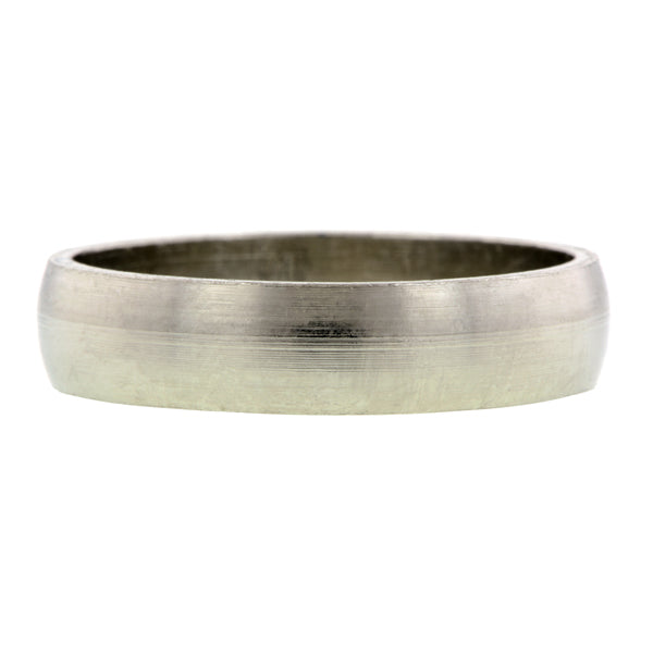 Contemporary ring: a Platinum 5mm  Half Round Wedding Band sold by Doyle & Doyle vintage and antique jewelry boutique.