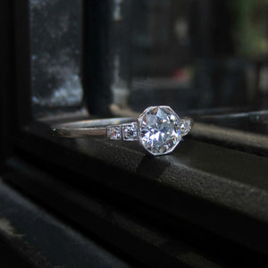 Art Deco Diamond Engagement Ring, Old Euro 0.72ct