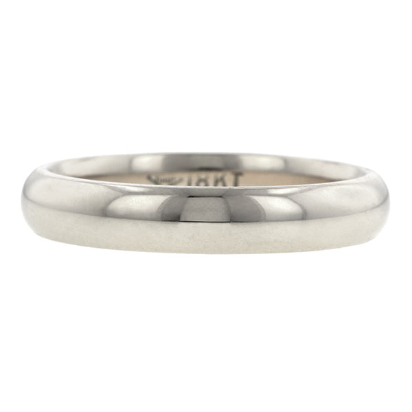 Contemporary ring: a White Gold 18k Comfort Fit Wedding Band Ring, 4mm sold by Doyle & Doyle vintage and antique jewelry boutique.