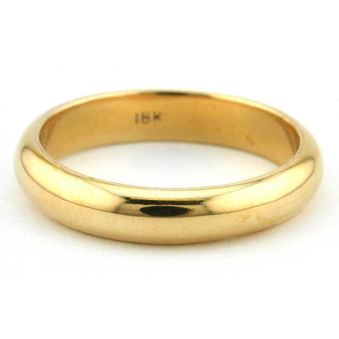 Contemporary ring: a Yellow Gold 18k Half Round Wedding Band, 4mm sold by Doyle & Doyle vintage and antique jewelry boutique.