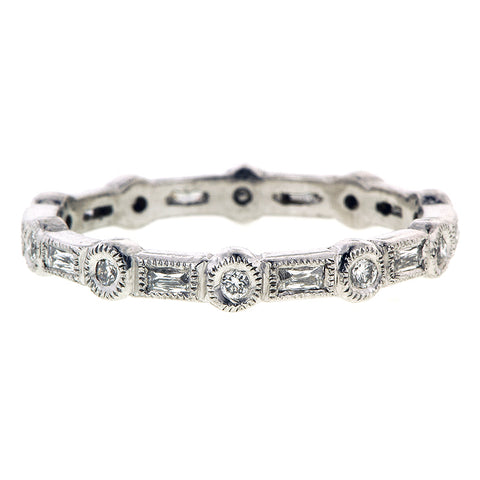 Bezel Set Round & French Cut Diamond Band