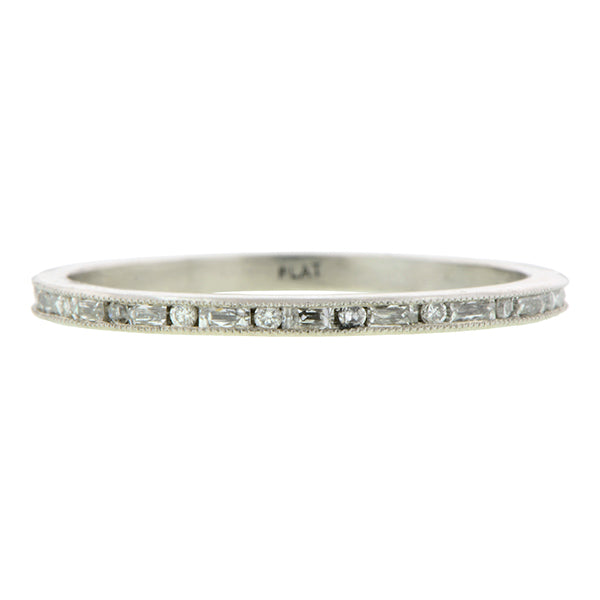 Contemporary ring: a Platinum French Cut Baguette .35ctw Eternity Band sold by Doyle & Doyle vintage and antique jewelry boutique.