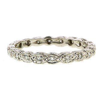 Rope Pattern Diamond Eternity Wedding Band