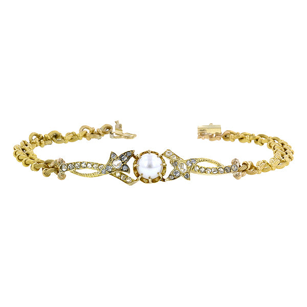 Antique Pearl & Rose Cut Diamond Bracelet sold by Doyle and Doyle an antique and vintage jewelry boutique