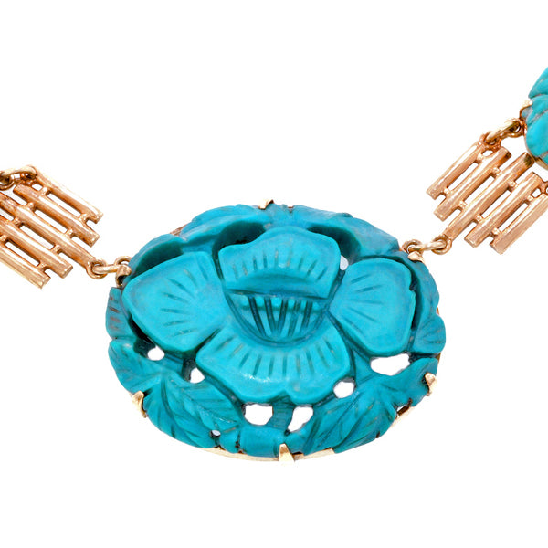 Vintage Carved Turquoise Necklace.