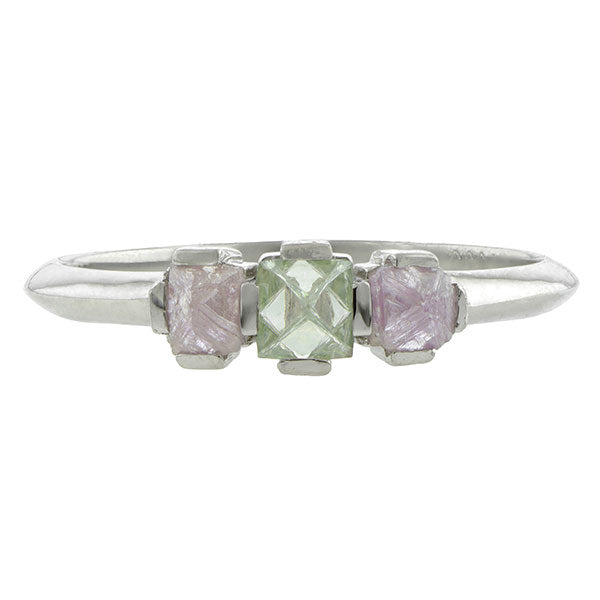 Gemstone ring: a Platinum Fancy Colored Octahedron Diamond Engagement Ring sold by Doyle & Doyle vintage and antique jewelry boutique.