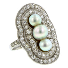 Edwardian Pearl & Diamond Dinner Ring::Doyle & Doyle