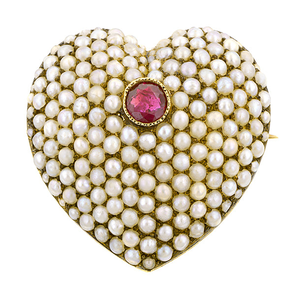 Victorian Ruby & Pearl Pin