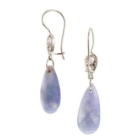 Diamond & Lavender Jade Drop Earrings