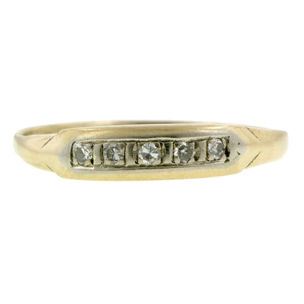Vintage Five Diamond Wedding Band Ring Yellow Gold  sold by Doyle & Doyle vintage and antique jewelry boutique