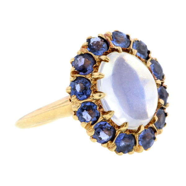 Antique Moonstone & Sapphire Cluster Ring:: Doyle & Doyle