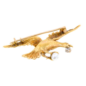 Antique Baroque Pearl & Diamond Bird Brooch:: Doyle & Doyle