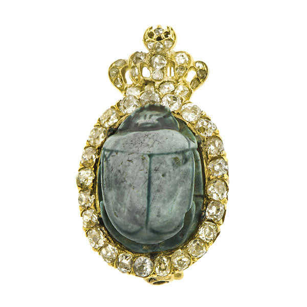 Antique Faience Scarab & Old Mine Diamond Pin