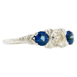 Edwardian Diamond & Sapphire Three Stone Ring, Old Euro 0.75ct