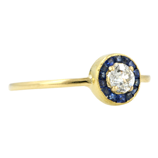 Edwardian Diamond & Sapphire Ring, Old Euro 0.27ct:: Doyle & Doyle