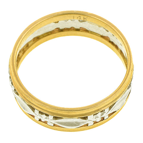 Vintage Patterned Two-toned Gold Band::Doyle & Doyle