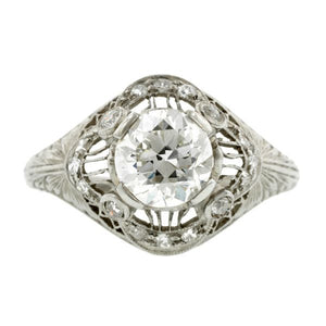 Edwardian Engagement Ring, Old Euro 1.15ct