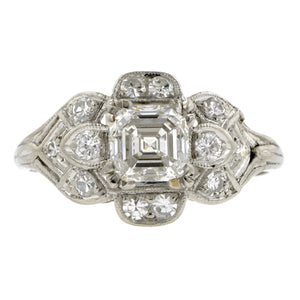Vintage Engagement Ring, Asscher cut 1.00ct::Doyle & Doyle