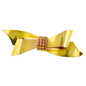 Retro Ruby Bow Pin: Doyle & Doyle