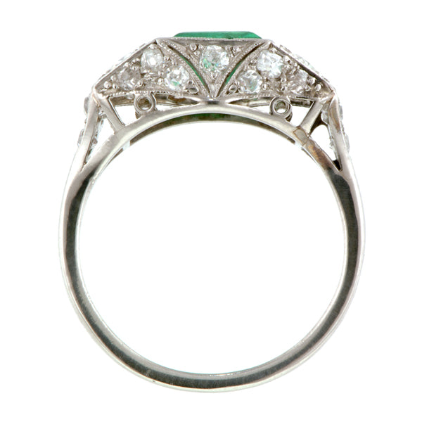 Edwardian Emerald & Diamond Ring::Doyle & Doyle
