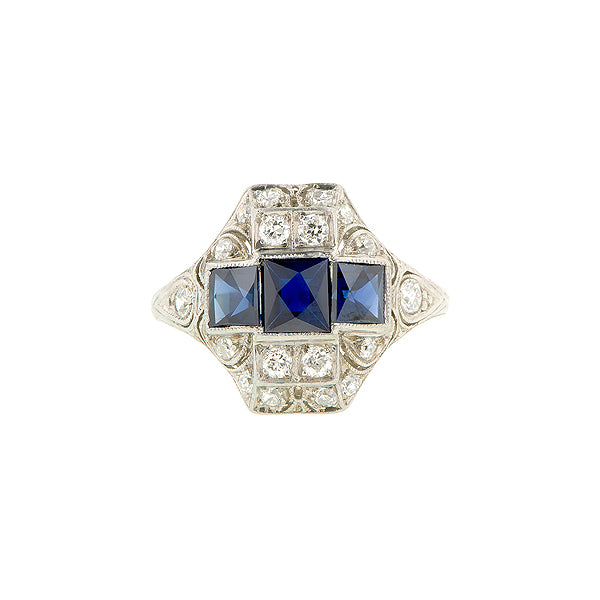French Cut Sapphire & Diamond Platinum Ring