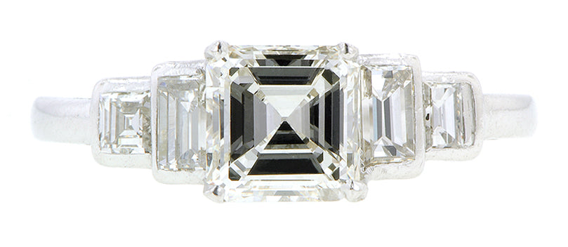 Asscher .85ct (HSI1) & Baguette Diamond Platinum Engagement Ring