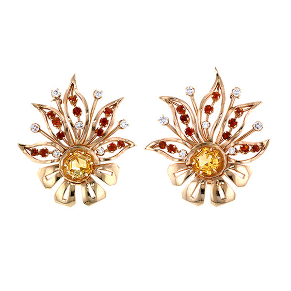 Retro Citrine & Diamond Double Clip Brooches::Doyle & Doyle