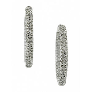 Pave Diamond Hoop Earrings, 1.00ctw:: Doyle & Doyle