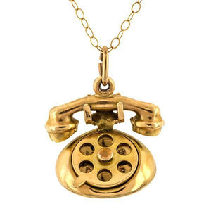 Antique Telephone Charm Pendant