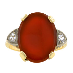 Vintage Carnelian & Diamond Ring