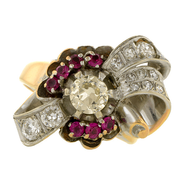 Retro Ruby & Diamond Ring