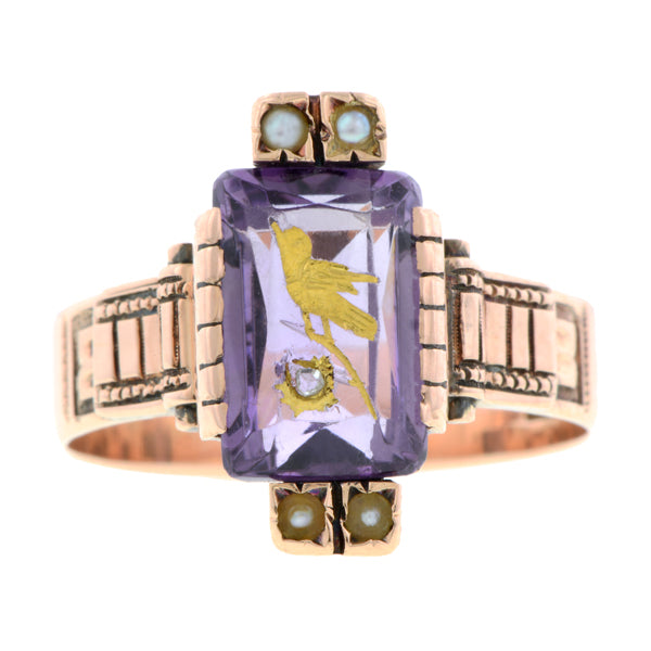 Victorian Amethyst & Diamond Ring:: Doyle & Doyle